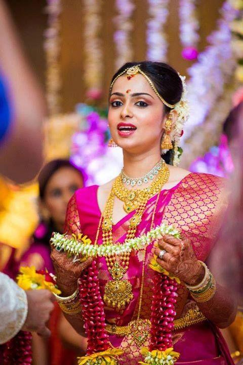 South Indian Bridal Saris - Pink Kanjivaram Sari #bride #kanjivaram #wedmegood