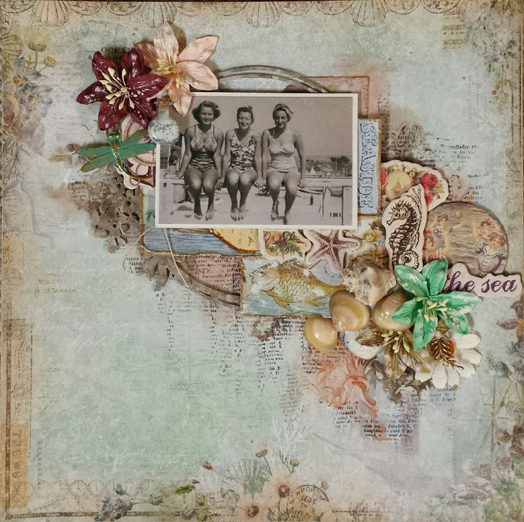 The Sea Scraps of Elegance August 2016 main kit elements add-on kit vintage scrapbook layout mixed media