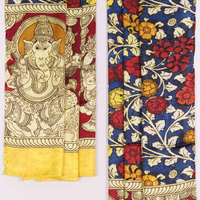 Hand Painted Kalamkari Satin Silk Dupatta With Floral Motifs 10016456 - AVISHYA.COM