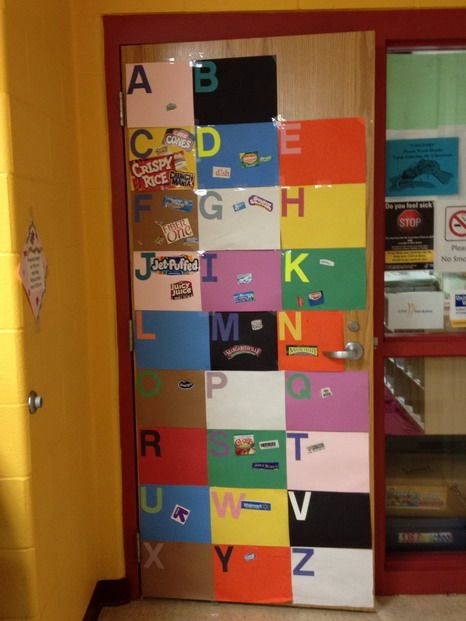Whenever they find a letter they get to post it on the door - Could apply to other topics like colors/emotions/shapes etc!