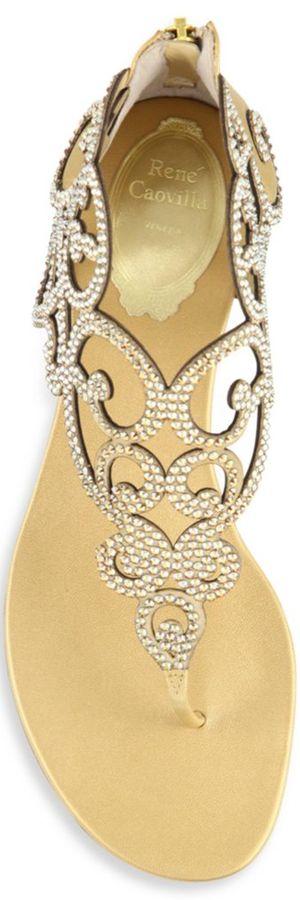 Rene Caovilla Swirl Strass Leather Flat Sandals