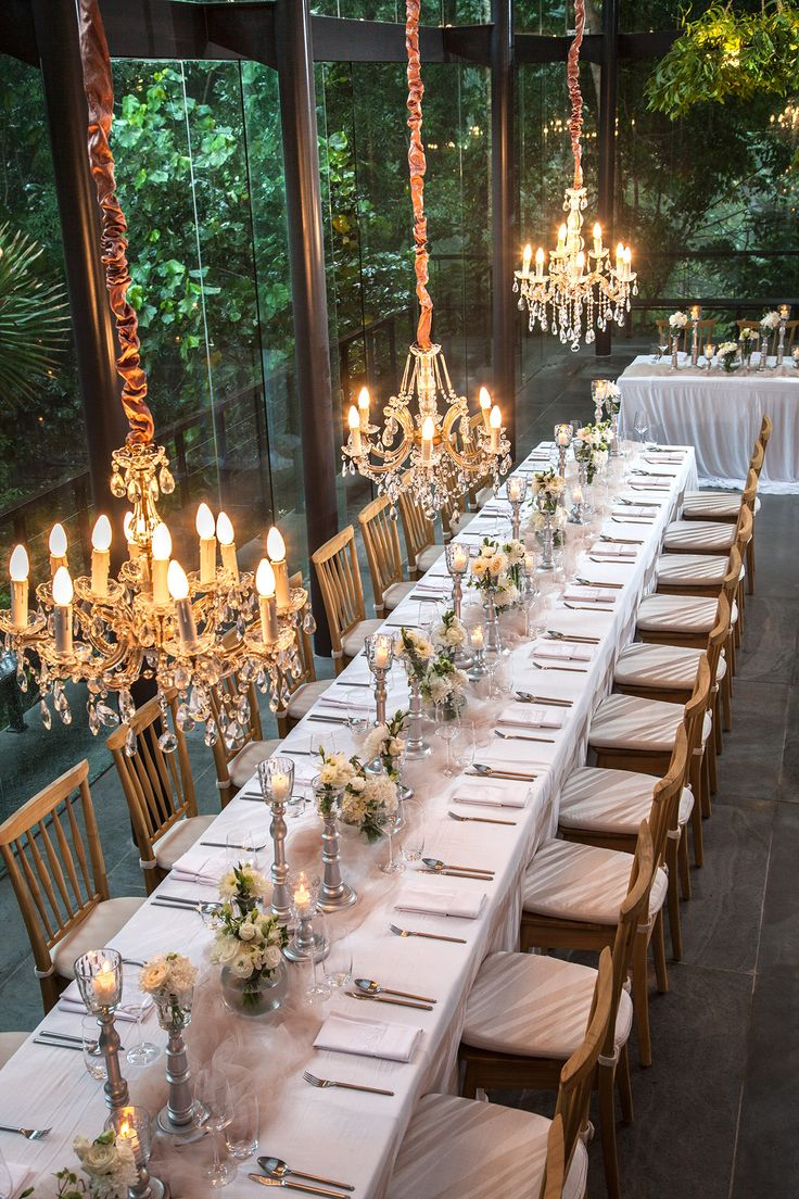 Chandeliers glittering above Dinner Table