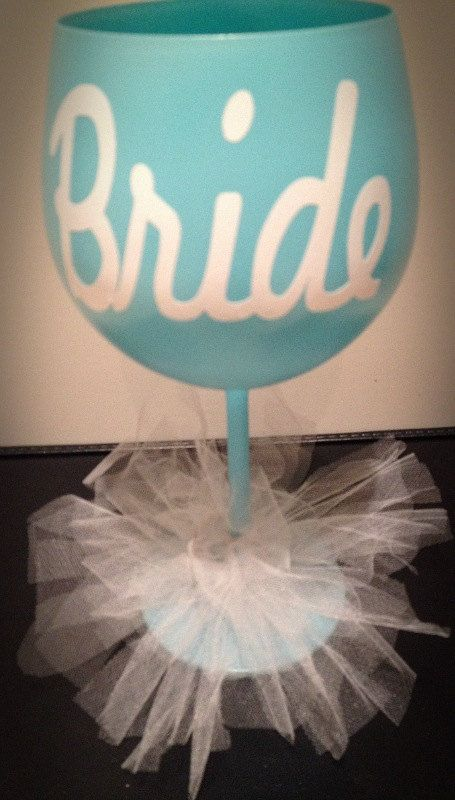 Bride Personalized Wine Glass GlamLuxePartyDecor: FREE SHIPPING! Creative, Unique, Personalized Glamorous Designer Party Decorations, favors, and keepsakes. Theme party Decor packages. 1st Birthday parties, pink princess tutu, weddings, christenings, holiday celebration, bridal shower, babyshower, bachelorette, Super Bowl, etc. #jacquelineK