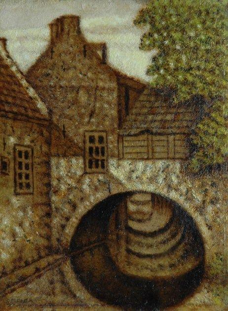 Schilderij van Salomon 'Sal' Meijer (1877-1965) - Uilenburg aan de Binnendieze,'s Hertogenbosch