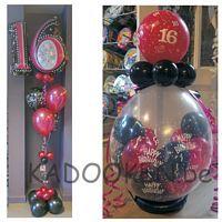 Sweet 16 versiering, ballonnen, verjaardagsballonnen, 16e verjaardag, heliumballonnen, geschenk in ballon  www.kadooken.be