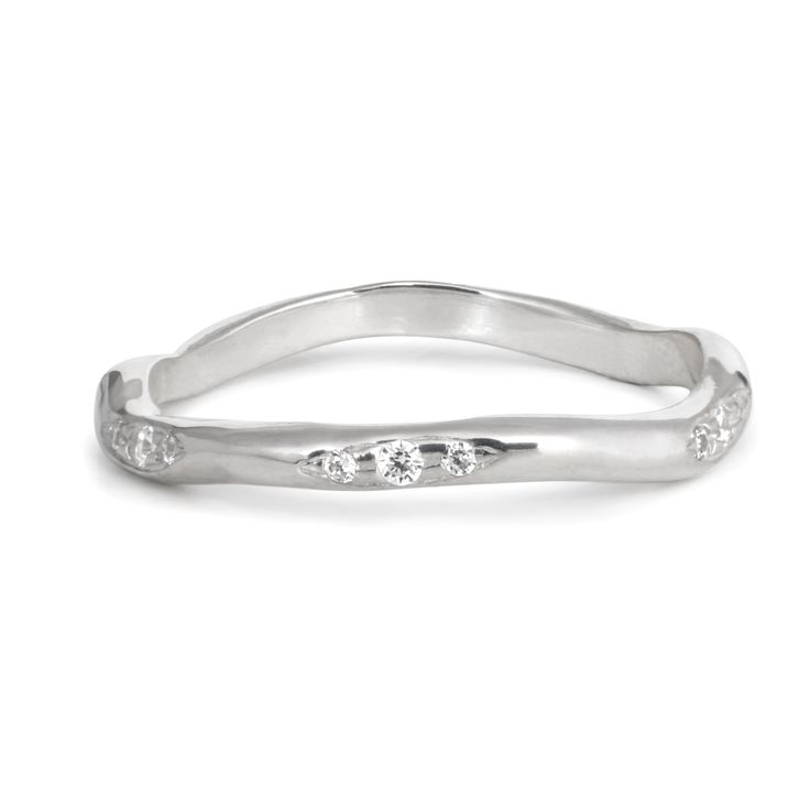 Three Diamonds Clusters Ring band in white gold / organic shape band / by 27JEWELRY