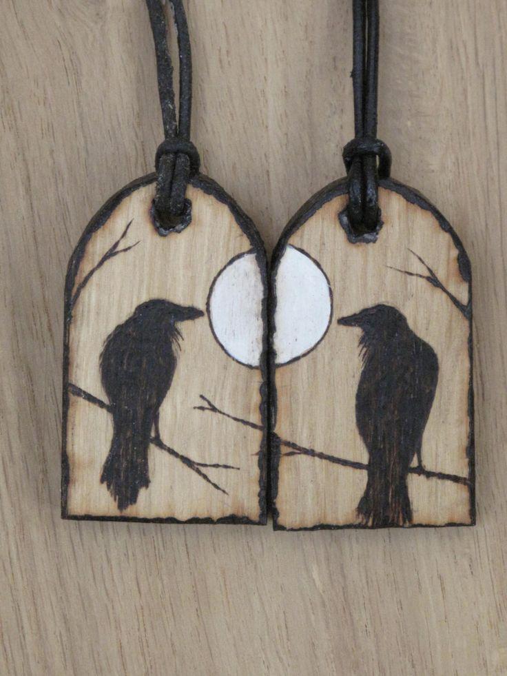 Huginn & Muninn Matching Pendants. Odins Ravens. Hugin Munin, Necklace, Amulet, Pagan, Heathen, Asatru, Shamanic, Corvid, Handcrafted.OOAK by Touchwoodcraft on Etsy