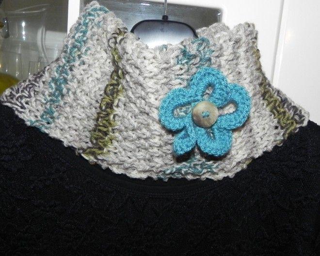 Scaldacollo con fiore misto lana