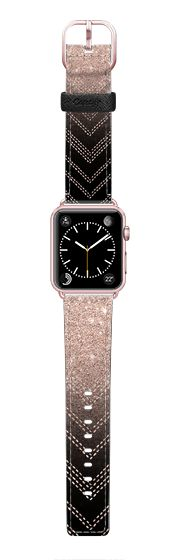 Casetify Apple Watch Band (42mm) Saffiano Leather Watch Band - Chic elegant faux rose gold glitter ombre modern geometric chevron pattern fashion stitch on black by Girly Trend by Girly Trend