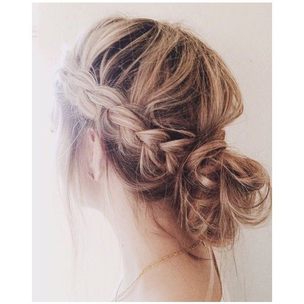 Relaxed Plaited Bun Up-Do   Polyvore   Pinterest   Braids, Buns and... ❤ liked on Polyvore featuring hair