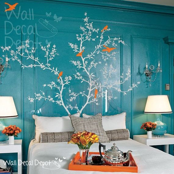 Vinyl Tree Wall Decal Wall Sticker Art - Chinoiserie - Flowering Branch with exotic birds
