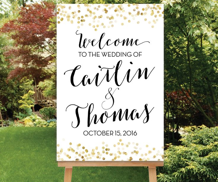 Wedding Welcome Sign Printable, Gold Wedding Decor, Black Gold Welcome Sign, Large Wedding Sign, Digital Sign PDF OR JPG, The Giselle by SimplyFetchingPaper on Etsy https://www.etsy.com/listing/270725774/wedding-welcome-sign-printable-gold