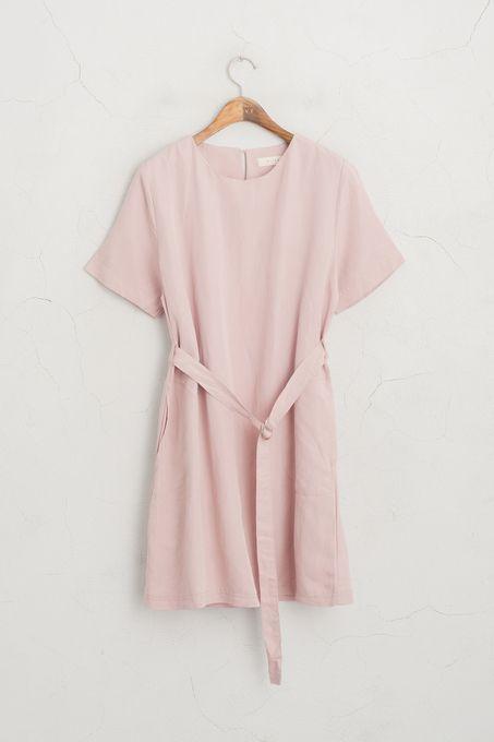 Belted Linen Short Sleeve Dress, Pink, 65% Linen, 35% Cotton