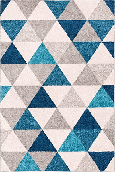 """Amazon.com: Isometry Blue & Grey Modern Geometric Triangle Pattern 3'3"""" x 5 Area Rug Soft Shed Free Easy to Clean Stain Resistant: Kitchen & Dining"""