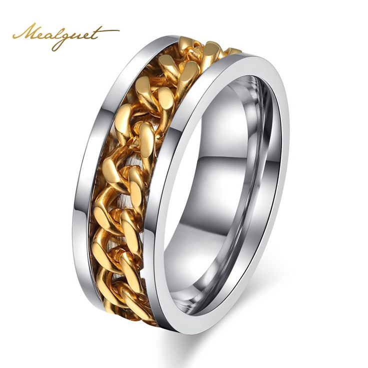 Meaeguet Men's Rock Punk Rings Stainless Steel Rings for Men Jewelry Engagement Wedding Rings for Men Jewelry