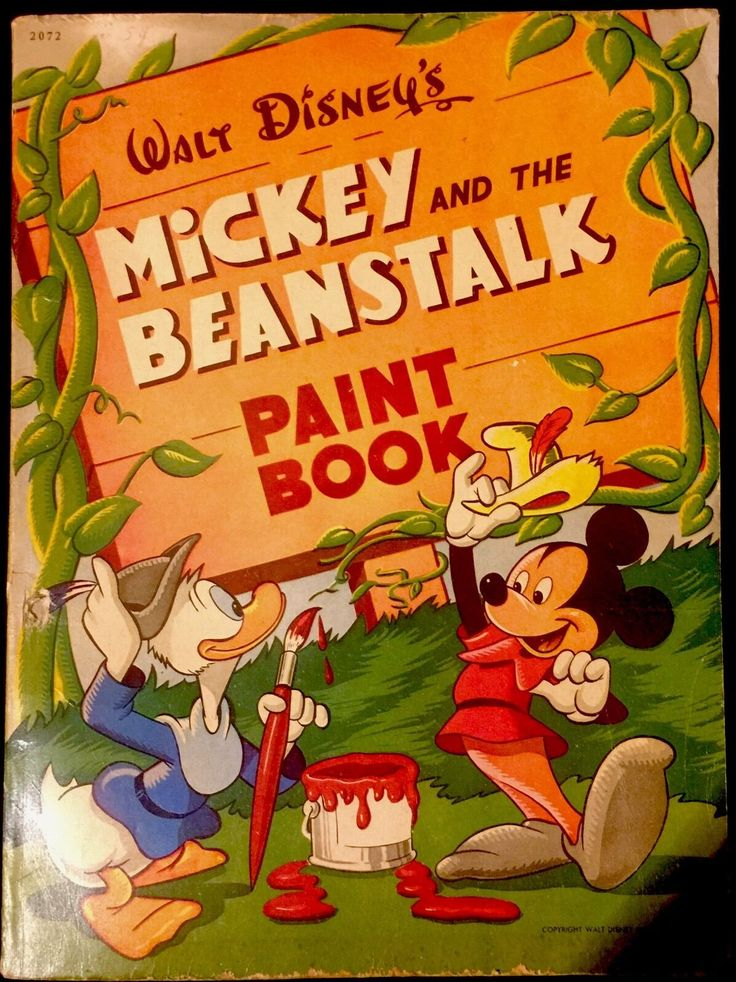 DISNEYS MICKEY THE BEANSTALK Donald 1940s Childrens Paint COLORING Book