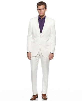 Tallia Orange Jacket, White Linen Slim Fit Blazer - Mens Suits & Suit Separates, $52.49| Macy's