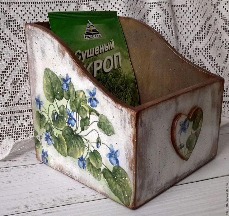 """Купить """"Весенние фиалки"""" Короб для специй - Декупаж, подарок, разноцветный, шкатулка деревянная"""