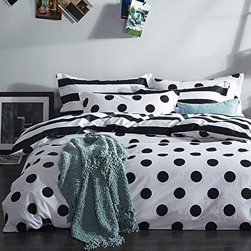 MZPRIDE Black and White Duvet Cover Set 100% Cotton Black and White Polka Dot…