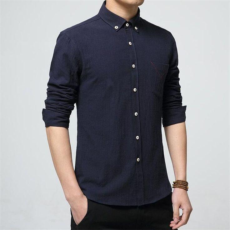 2017 New Autumn Fashion Brand Men Colthes Slim Fit Men Long Sleeve Shirt White Linen Shirts Men Casual Business Shirts Plus size