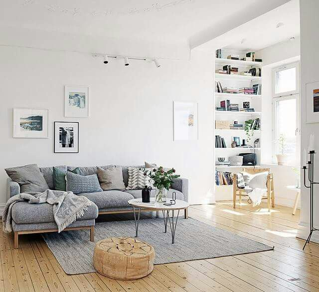 Upstairs living room - couch, shelf, colour scheme