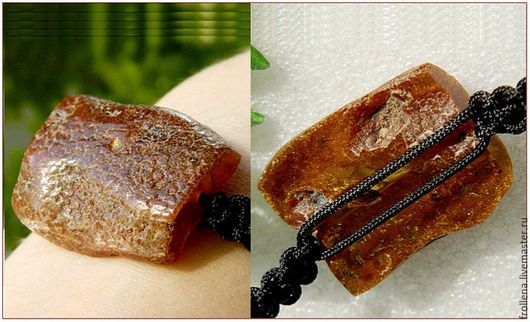 "Baltic amber bracelet from Livemaster Russia  Браслет ""Две корочки"" янтарь шнур"