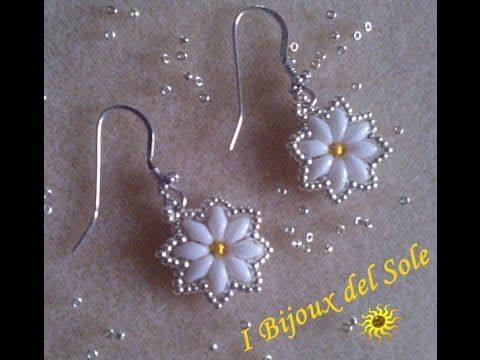 DIY tutorial veloce, facile orecchino superduo beads e cristalli Italian-English gioielli fai da te - YouTube