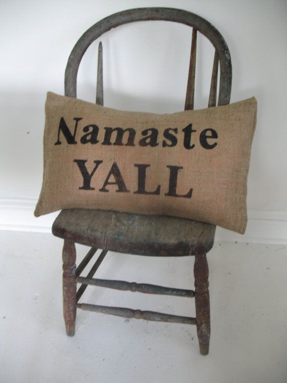 Yoga southern style: Texas Style, Namaste Yall, Southern Style, Namaste Y All, Burlap Pillows, Living Room, Home Interiors Design, Yoga Southern, Houses Design