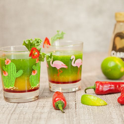Reduced Sugar Tequila Sunrise with Kale Juice