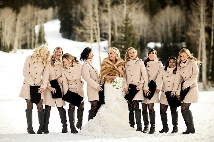 Bridesmaids in peacoats and tights