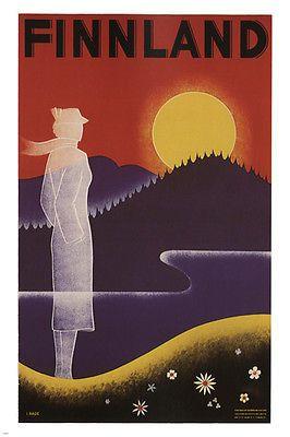 FINLAND VINTAGE TRAVEL POSTER Ingrid Louisa Bade FINLAND 1936 24X36 sunset