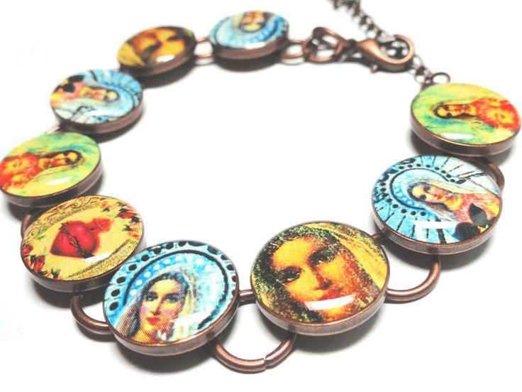 Sacred Heart Bracelet, Resin Bracelet, Religious Jewelry, Catholic Jewelry, Handmade Jewelry, Resin Bracelet, Mary, Lady of Guadalupe by OOAKResinDesigns on Etsy https://www.etsy.com/listing/97033151/sacred-heart-bracelet-resin-bracelet
