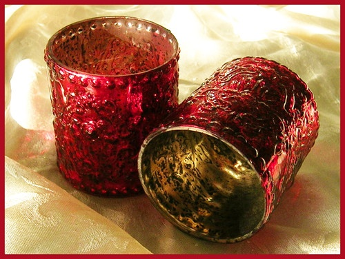 Red Embossed Mercury Glass Votive Or Tealight Candle