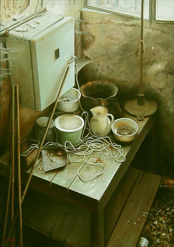 Autore : Luigi Beolchi  Titolo : Vecchio scantinato Tecnica : Olio su tela Misure : 70x50 cm