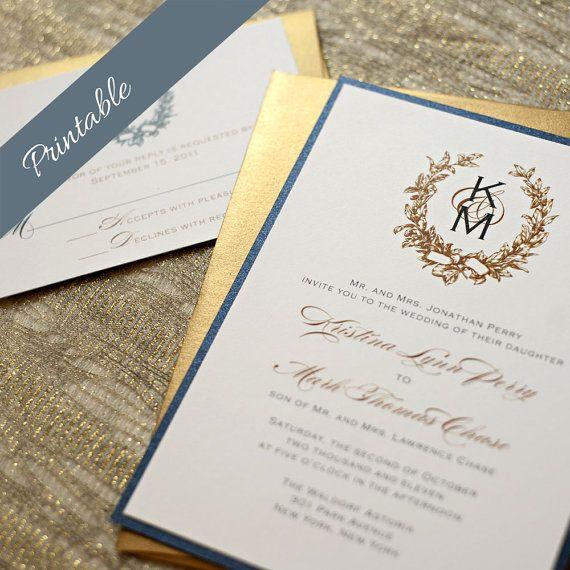 Monogramma di inviti matrimonio stampabile di EdenWeddingStudio