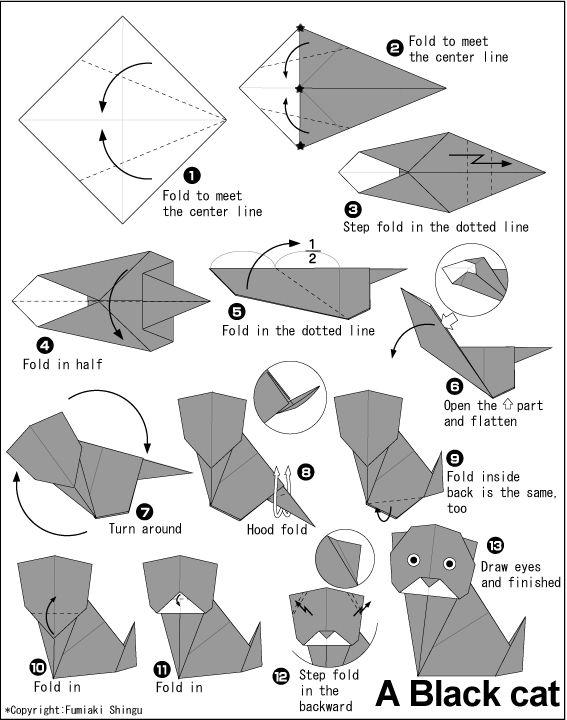 tuto origami cat