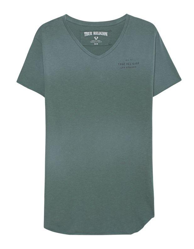 Baumwoll-T-Shirt mit Print Schmal geschnittenes grün verwaschenes T-Shirt aus weicher Baumwolle mit V-Ausschnitt, schwarzem Label-Print auf der Brust, aufgerolltem sowie offenem Saum, seitlichen Schlitzen und großem Label-Print auf dem Rücken.  True Religion sorgt für eine ordentliche Portion Lässigkeit!