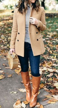 Stylish fall outfit with riding boots