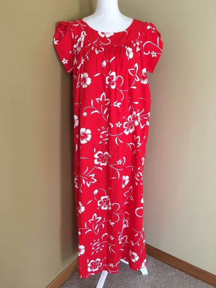 Hawaiian Mumu SZ 14 Red Tropical Hibiscus Long Duster House Gown Dress Vacation    eBay