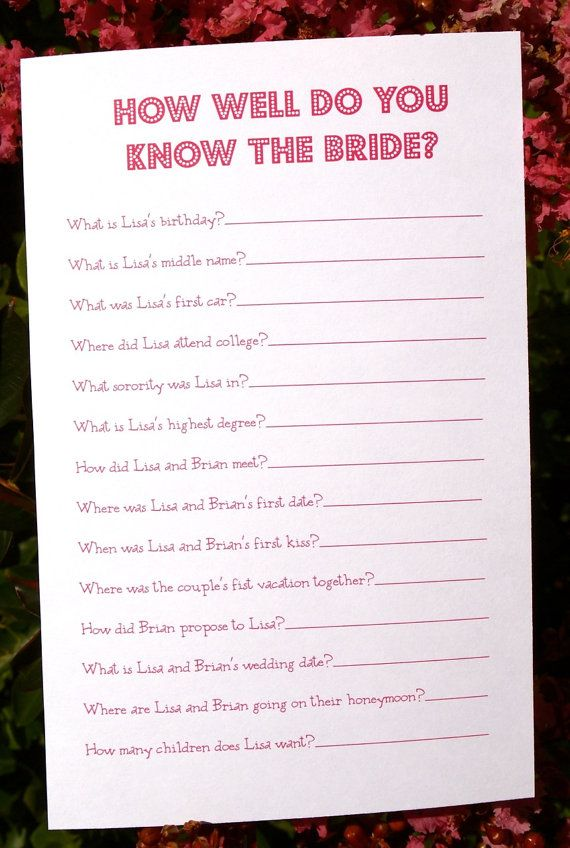 Diy Printable Bridal Shower Game How Well Do You Know The Bride Printing Service Optional