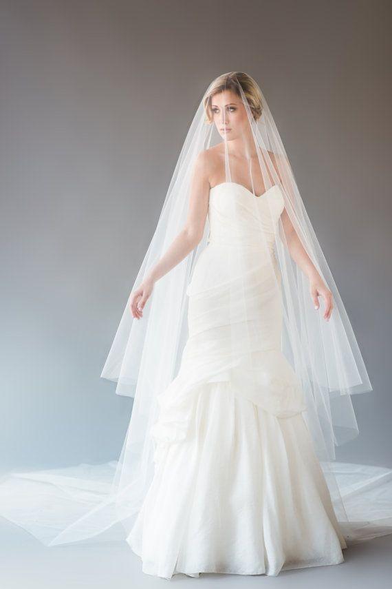 AUBREY VEIL   cathedral length drop veil, bridal veil, wedding veil, long veil, circle drop veil, white, diamond white, ivory tulle