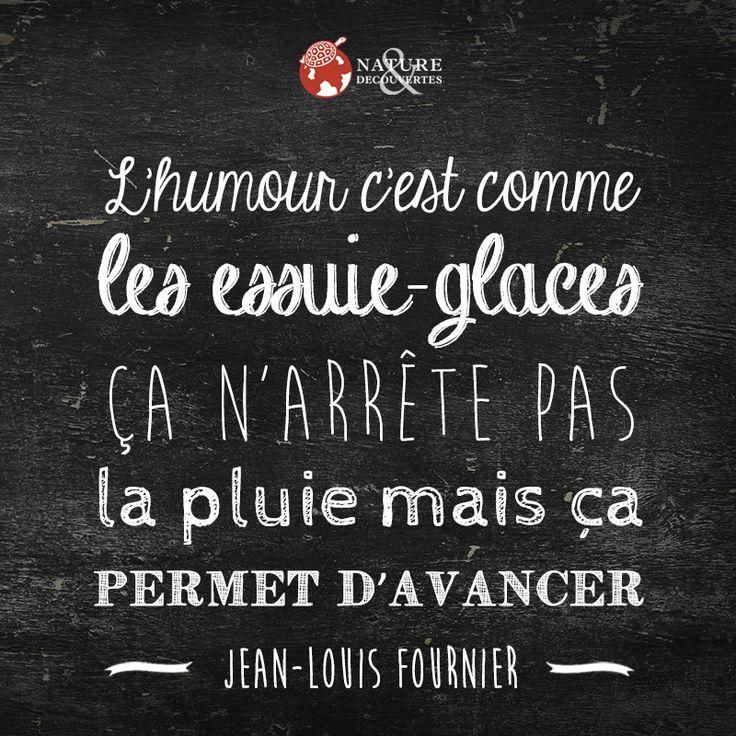 L'humour c'est comme les essuie-glaces, ça n'arrête pas la pluie mais ça permet d'avancer.  Jean-Louis Fournier