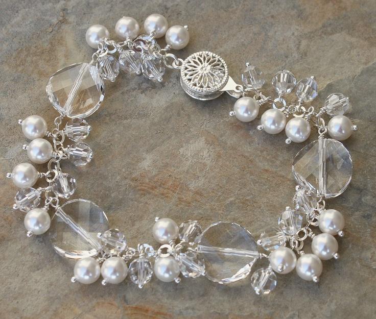Image detail for -swarovski twist crystal pearl bracelet earring set bracelets