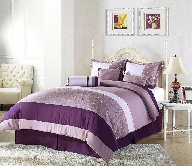 Purple And Cream Master Bedroom