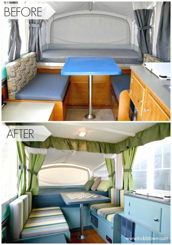 Pop Up Camper Remodel: Todd's Pop Up Makeover.  Another awesome pop up camper makeover over at The Pop Up Princess.: