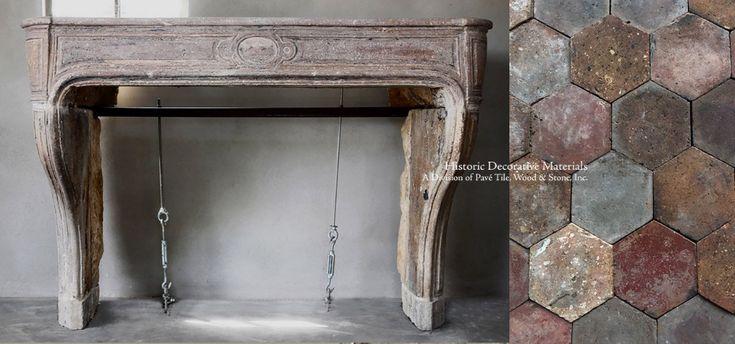 La Maison Française Antique French Limestone Fireplace Mantel – Mantel Pavé 108