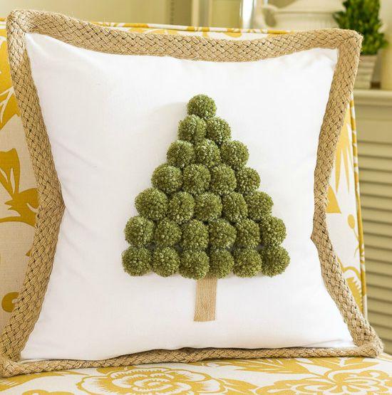 Christmas Tree Pom Pom Pillow Cover