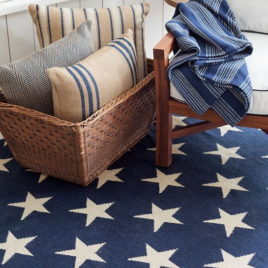 A Navy Blue And White Star Patterned Indoor/outdoor Rug Is The Perfect Floor  Decor