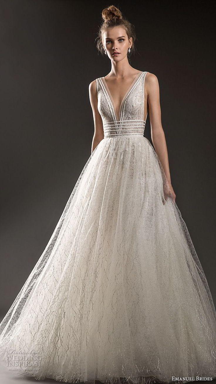 emanuel brides 2018 bridal sleeveless with strap deep plunging v neck side open …