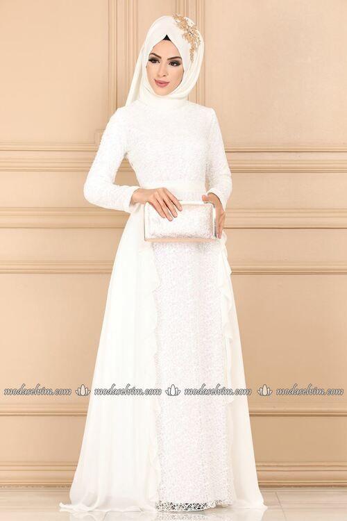 Modaselvim Abiye Yanlari Sifon Firfir Detay Abiye Ech7330 Ekru Hijab Fashion Inspiration Colorful Dresses Muslimah Fashion